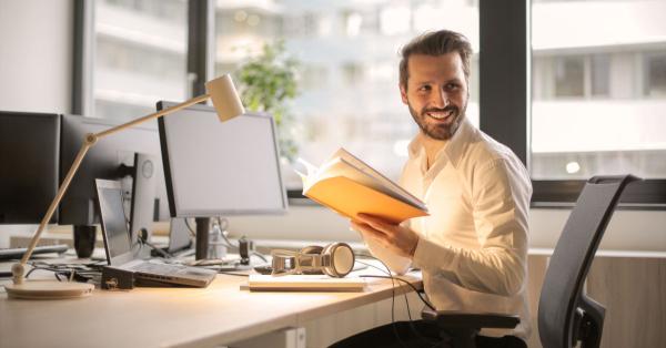 man at computer at work