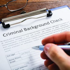 Signing a criminal background check form