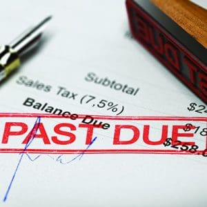 Past due notice delivered by debt collectors